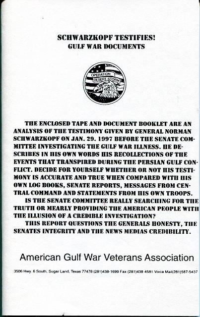 Image for Schwarzkopf Testifies! Gulf War Documents
