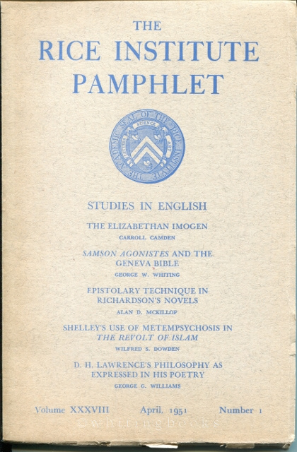 Image for The Rice Institute Pamphlet Vol. XXXVIII No.1 April 1951 : Studies in English