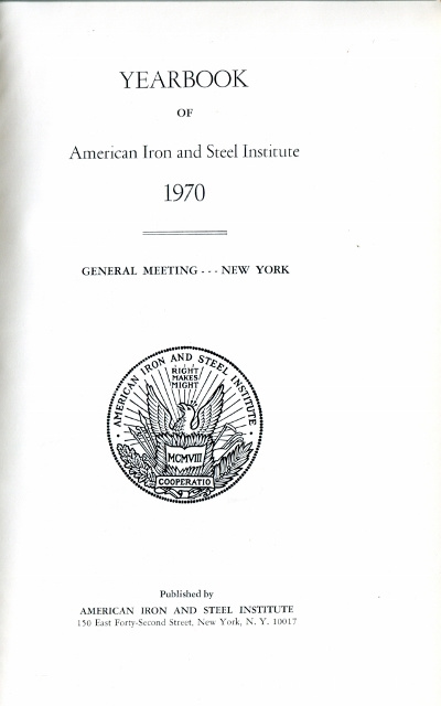 Image for Yearbook of American Iron and Steel Institute 1968, General Meeting - New York (Address by Hubert H. Humphrey, Vice President of the United States)