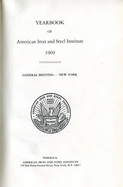 Image for Yearbook of American Iron and Steel Institute 1969, General Meeting - New York