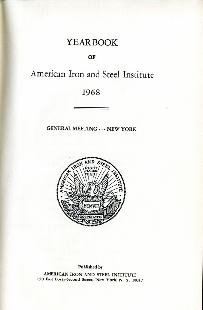 Image for Yearbook of American Iron and Steel Institute 1970, General Meeting - New York (Address by Bob Hope)