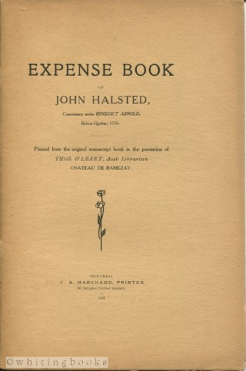 Image for Expense Book of John Halsted, Commissary Under Benedict Arnold, Before Quebec, 1776