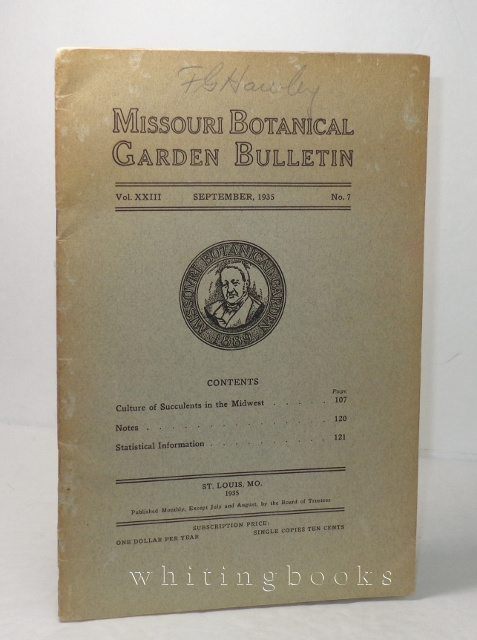 Image for Missouri Botanical Garden Bulletin, Vol. XXIII, No. 7, September 1935