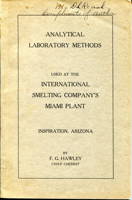Image for Analytical Laboratory Methods Used at the International Smelting Company's Miami (Arizona) Plant