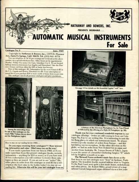 Image for Automatic Musical Instruments for Sale, Catalogue No. 9, June 1969