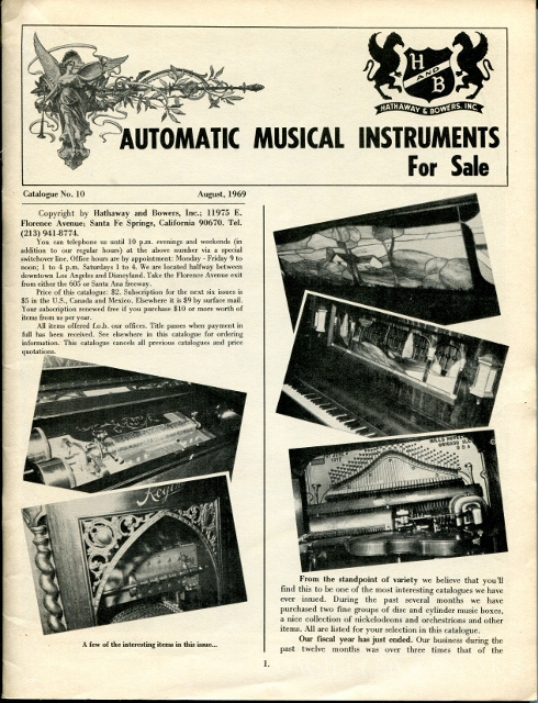 Image for Automatic Musical Instruments for Sale, Catalogue No. 10, August 1969