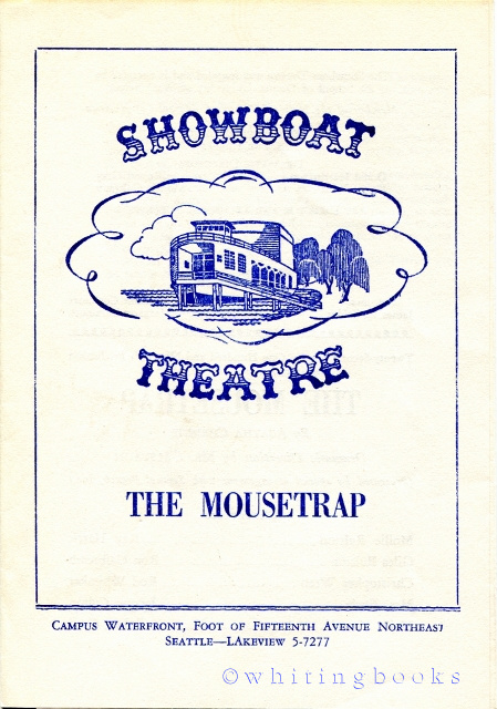 "Image for Showboat Theatre Program, 1959, Seattle, for Agatha Christie's, ""The Mousetrap,"" Starring Rod Whitaker (Known Later as the Author, Trevanian)"