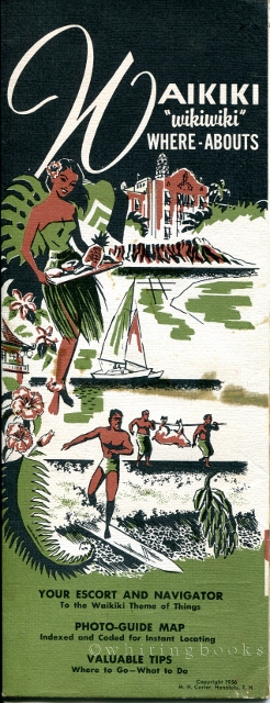 "Image for Waikiki ""wikiwiki"" Where-Abouts: 1956 Tourist Brochure with Photo-Guide Map"