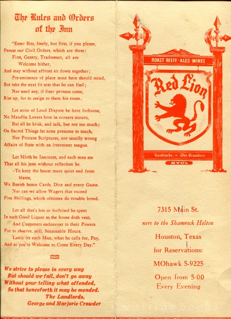 Image for Red Lion Restaurant Pub Menu, Circa Early 1960s, Houston, Texas