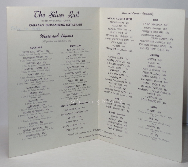 Image for The Silver Rail Cocktail List, Toronto, 1948