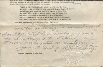 Image for 1912 Petition from the Houston Anti-Tuberculosis League, Dr. Elva A. Wright, President, for the Requirements of a Tuberculosis Hospital Proposed by the Commissioners' Court of Harris County; Signed by Members of the Local #79 O.P.I.A. (Houston)