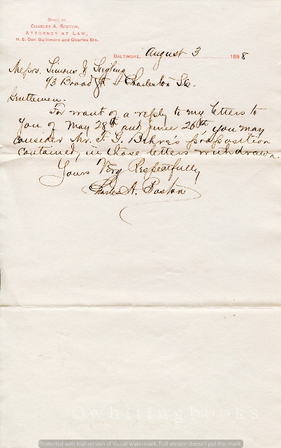 Image for [Ephemera] [Legal] Handwritten, Signed Letter from Baltimore Attorney Charles A. Boston to Simons & Siegel of Charleston, South Carolina
