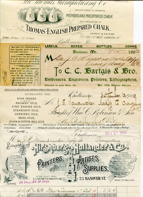 Image for [Ephemera] [Merchants] Billheads/Receipts (Lot of 26) from Baltimore Wholesalers to Wannamaker Manufacturing Company (Drugs) in Orangeburg, South Carolina, 1893-1902