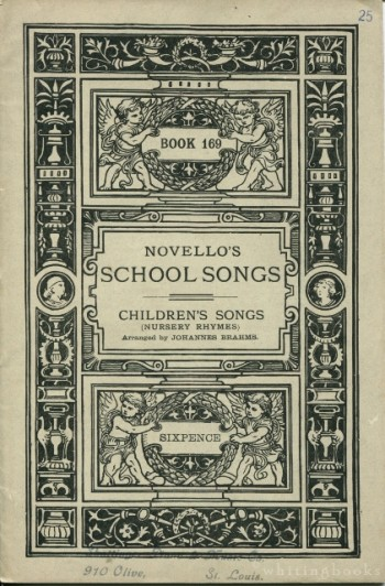 Image for Novello's School Songs, Book 169: Children's Songs (Nursery Rhymes), Arranged by Johannes Brahms