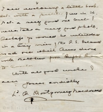 Image for Autograph Signed Letter from Lucy Maud Montgomery (Macdonald), 1939