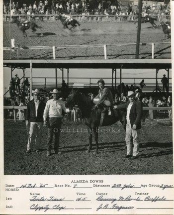 Image for Almeda Downs Texas Horse Racing Track Photo 1965: Photo Finish and the Winning Team - J.B. Ferguson, Owner