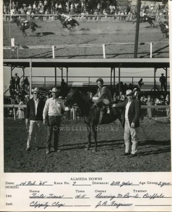 Almeda Downs Texas Horse Racing Track Photo 1965: Photo Finish and the Winning Team - J.B. Ferguson, Owner
