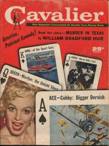 Image for Cavalier Magazine, August 1961 - Marilyn Monroe, Murder in Texas (Attention, President Kennedy), Horror Fiction from Robert Bloch (Hungarian Rhapsody)