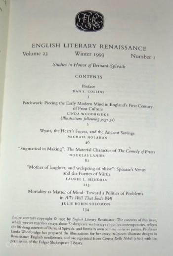 English Literary Renaissance, Winter 1993 - Volume 23, Number 1