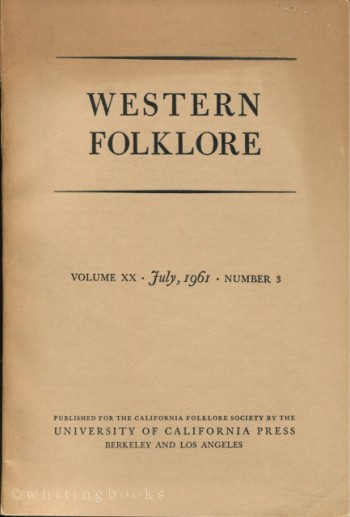 Image for Western Folklore, Volume XX - July 1961 - Number 3