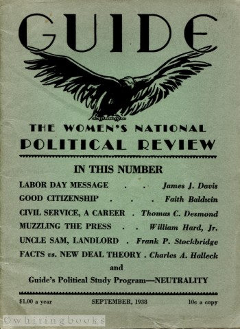 Image for GUIDE: The Women's National Political Review, September 1938, Vol. 12, No. 12