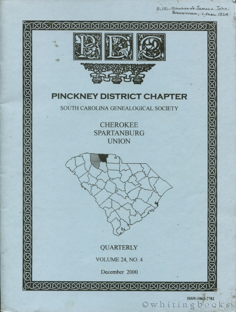 Image for South Carolina Genealogical Society Quarterly, Volume 24, No. 1, March 2000: Pinckney District Chapter - Cherokee, Spartanburg, Union Counties