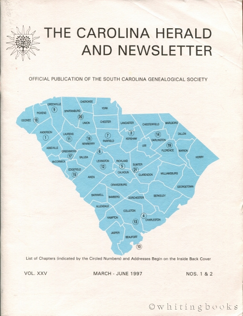 Image for The Carolina Herald and Newsletter, Volume XXV, Nos. 1 & 2, March-June 1997 (South Carolina Genealogical Society)