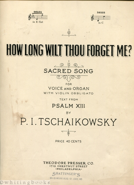 Image for How Long Wilt Thou Forget Me? Sacred Song for Voice and Organ with Violin Obligato, Text from Psalm XIII