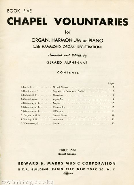 Image for Chapel Voluntaries for Organ, Harmonium or Piano (with Hammond Organ Registration) for Catholic Church Service [Book Five]