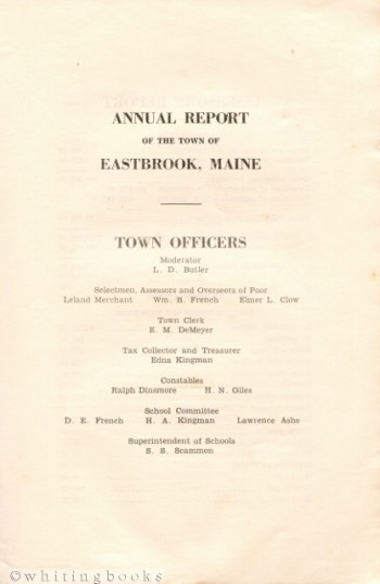 Image for Annual Report of the Town of Eastbrook, Maine 1937-1938