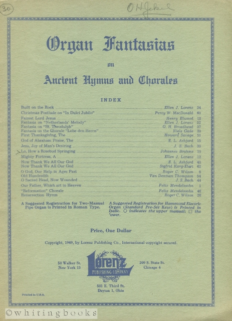 Image for Organ Fantasies on Ancient Hymns and Chorales