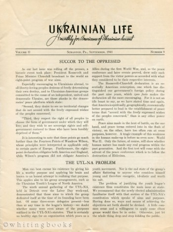 Image for Ukrainian Life: A Monthly for Americans of Ukrainian Descent - Volume II, Number 9, September 1941