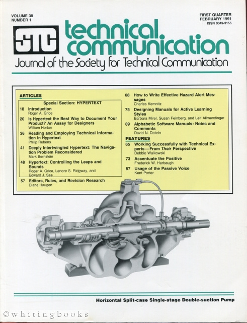 Image for Technical Communication: Journal of the Society for Technical Communication - Volume 38, Number 1, February 1991