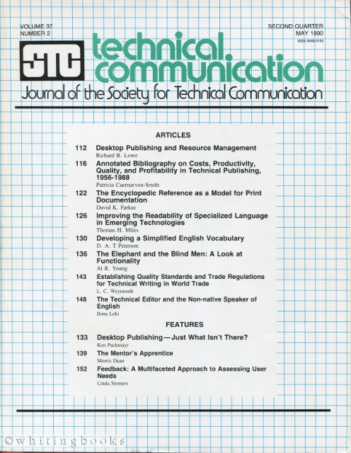 Image for Technical Communication: Journal of the Society for Technical Communication - Volume 37, Number 1, February 1990
