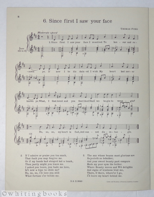 Image for Six Songs by Thomas Campian, Thomas Ford, Henry Lawes, John Dowland, and Thomas Morley, Arranged for Voice & Guitar by John Williams