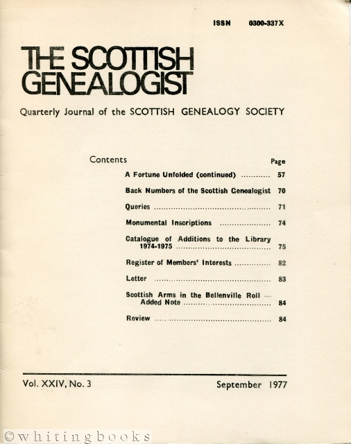Image for The Scottish Genealogist (Three Issues): Vol. XXIV, Nos. 1, 3, and 4 - March, September, and December 1977