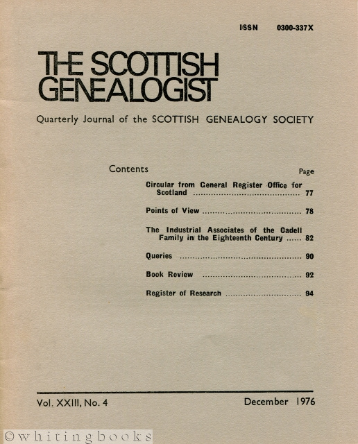 Image for The Scottish Genealogist: Vol. XXIII, No. 4 - December 1976