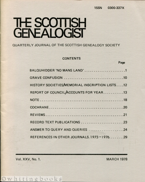 Image for The Scottish Genealogist: Vol. XXV, No. 1 - March 1978