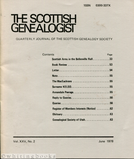 Image for The Scottish Genealogist: Vol. XXV, No. 2 - June 1978