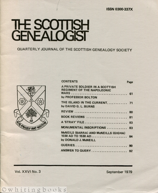 Image for The Scottish Genealogist: Vol. XXVI, No. 3 - September 1979