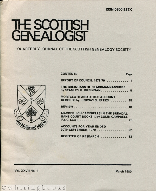 Image for The Scottish Genealogist: Vol. XXVII, No. 1 - March 1980