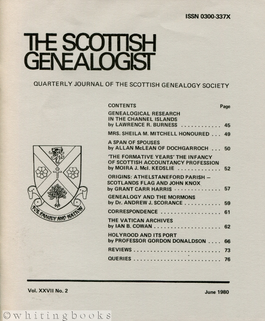 Image for The Scottish Genealogist: Vol. XXVII, No. 2 - June 1980