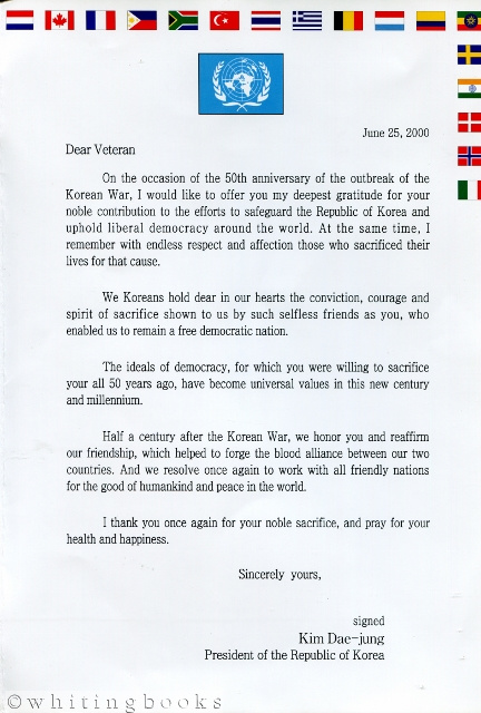 Image for Letter of Appreciation to Korean War Veterans from South Korean President Kim Dae-jung on the Occasion of the 50th Anniversary of the Start of the Korean War