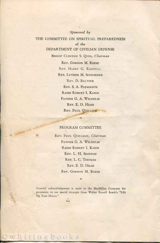 Image for 1942 Program for a Service Prayer Dedication during World War II - Houston, Texas City Coliseum