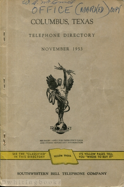 Image for Columbus, Texas Telephone Directory November 1953