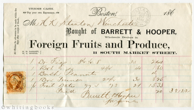 Image for 1865 Boston Billhead: Barrett & Hooper Foreign Fruits & Produce