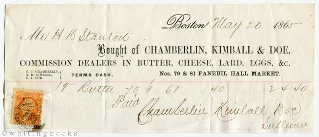 Image for 1865 Boston Billhead: Chamberlin, Kimball & Doe - Commission Dealers in Butter, Cheese, Lard, Eggs, etc.