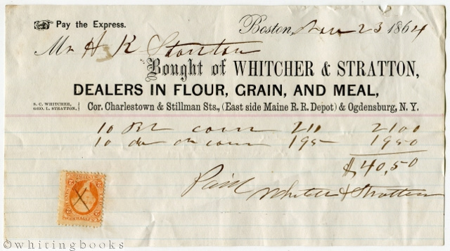 Image for 1864 Boston Billhead: Whitcher & Stratton -  Dealers in Flour, Grain, and Meal
