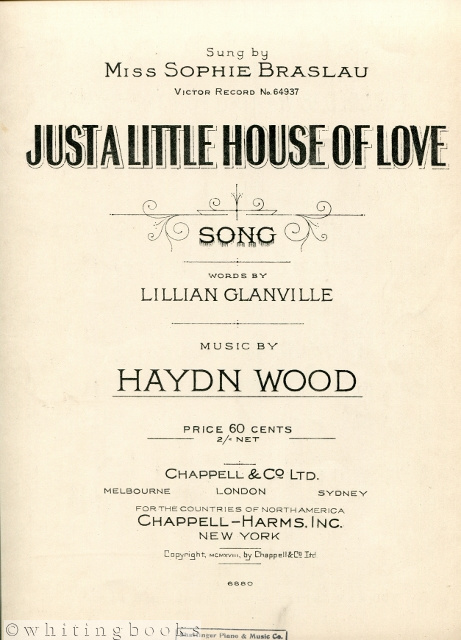 Image for Just a Little House of Love [Sung By Miss Sophie Braslau, Victor Record No. 64937]