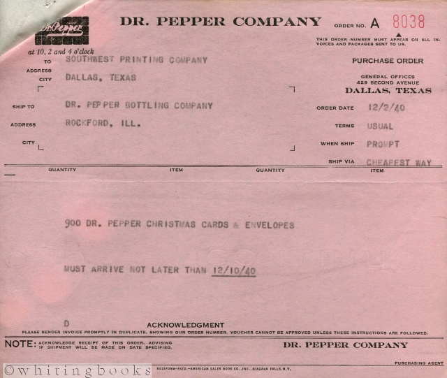 Image for Dr. Pepper Invoice & Purchase Order, 1940 - Dallas, Texas to Rockford, Illinois Bottling